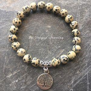 Other - Natural Dalmation Jasper Gemstone Unisex Bracelet